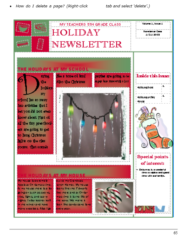 24 a holiday newsletter in publisher for elementary school ask a