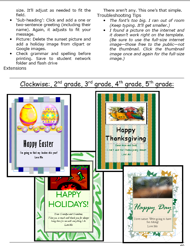 A holiday flier and greeting card in publisher ask a tech teacher greeting cards are easy enough for second graderseven early readers using ms publisher pick a template add a picture to personalize add their nameand fandeluxe Images