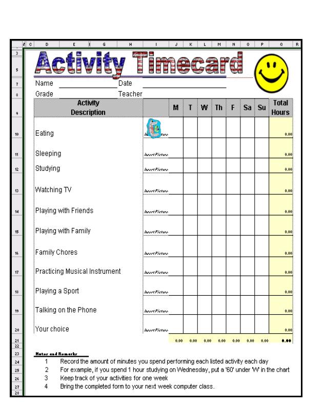 Excel timecard