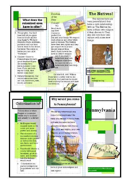 53 colonization trifold brochure in publisher ask a tech teacher