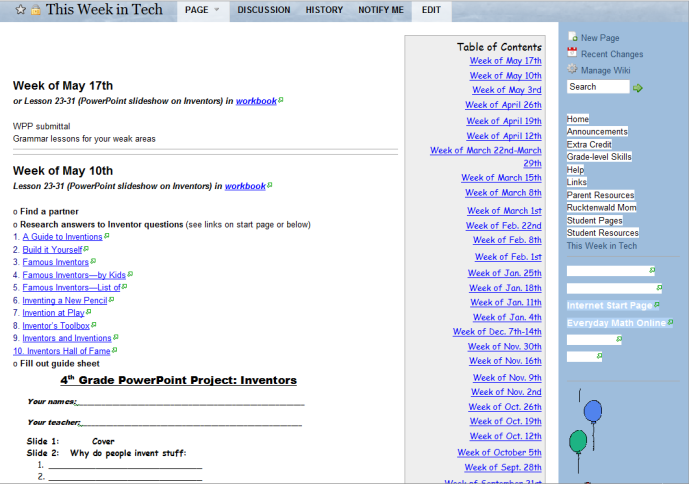 classroom wiki
