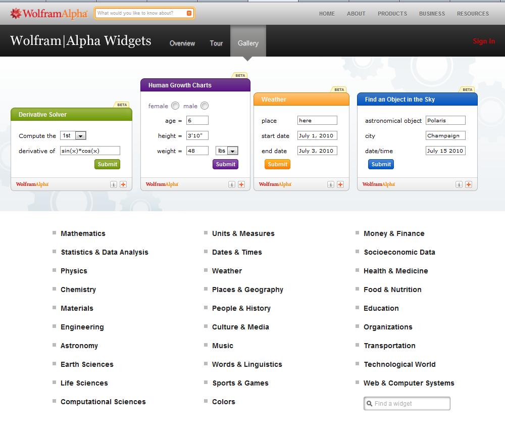 Wolfram Alpha widgets
