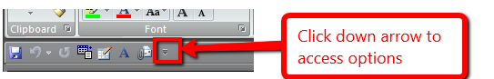 Customize Quick Access toolbar on Office 2010