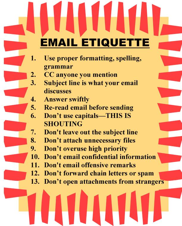 Email Etiquette Poster 2 on Math Books For Kindergarten